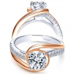 Taryn 18k White/Rose Round Bypass Engagement Ring TE10309T44JJ