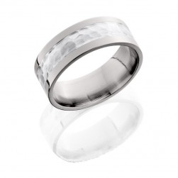 Lashbrook 8F14/SS HAMMER-POLISH Titanium Wedding Ring or Band