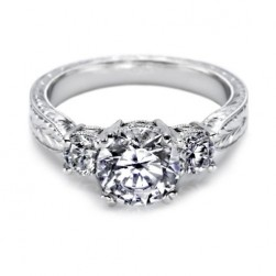 Tacori 18 Karat Hand Engraved Engagement Ring 10943