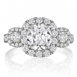 Henri Daussi ACMB Cushion Halo Three Stone Diamond Engagement Ring