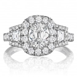 Henri Daussi ACMT Cushion Halo with Trapezoid Diamonds Engagement Ring