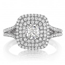 Henri Daussi ADT Triple Cushion Halo Split Shank Diamond Engagement Ring