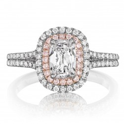 Henri Daussi ADTP Double Cushion Halo with Pink Diamonds Engagement Ring