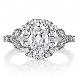 Henri Daussi AGCS Cushion Halo Floral Inspired Antique Diamond Engagement Ring