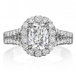 Henri Daussi AKS Cushion Halo Split Shank Diamond Engagement Ring