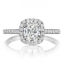 Henri Daussi ALG Cushion Halo Diamond Engagement Ring