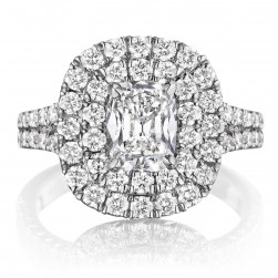 Henri Daussi AQS Cushion Double Halo Spilt Shank Diamond Engagement Ring