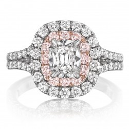Henri Daussi AQSP Cushion Double Halo with Pink Diamonds Engagement Ring