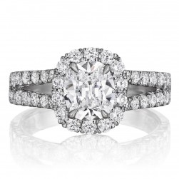 Henri Daussi AU Cushion Halo Split Shank Diamond Engagement Ring