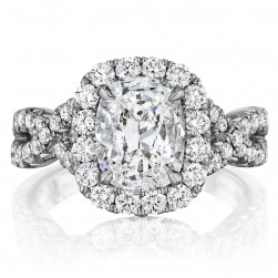Henri Daussi AW Cushion Halo Interlaced Shank Diamond Engagement Ring