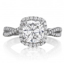 Henri Daussi AWK Cushion Halo Interlaced Shank Diamond Engagement Ring