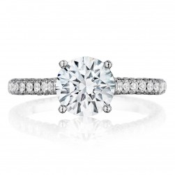 Henri Daussi BGS Three-Sided Diamond Solitaire Engagement Ring