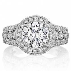 Henri Daussi BKJF Round Milgrain Halo Antique Diamond Engagement Ring