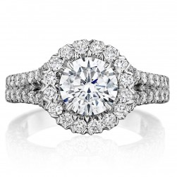 Henri Daussi BKS Round Halo Split Shank Diamond Engagement Ring