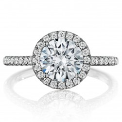 Henri Daussi BLG Round Halo Diamond Engagement Ring