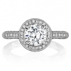 Henri Daussi BNH Antique Round Halo Diamond Engagement Ring