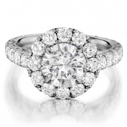 Henri Daussi BWSB Round Halo Diamond Engagement Ring