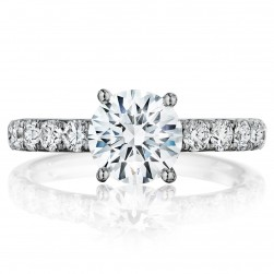 Henri Daussi BXB Round Diamond Solitaire Engagement Ring
