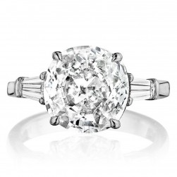 Henri Daussi GCT Classic Cushion with Tapered Baguette Diamonds Engagement Ring