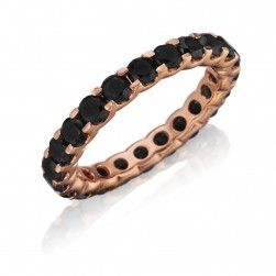 Henri Daussi R13-5 Rose Gold Prong Set Black Diamond Eternity Band