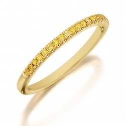 Henri Daussi R1-3 Diamond Band Single Line of Fancy Yellow Diamonds