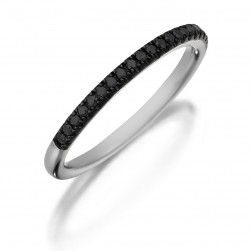 Henri Daussi R1-4 Diamond Band Single Line of Black Diamonds