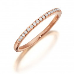 Henri Daussi R1-7 Rose Gold Single Line Diamond Band
