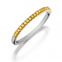 Henri Daussi R1-9 Diamond Band Single Line of Fancy Yellow Diamonds