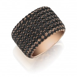 Henri Daussi R20-5 Rose Gold Eight Row Pave Set Black Diamond Band