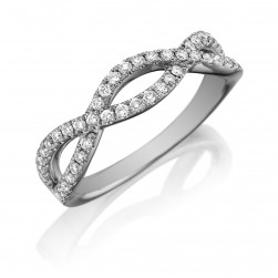Henri Daussi R23-1 Twisted Band with Pave Set Diamonds
