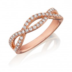 Henri Daussi R23-7 Rose Gold Twisted Band with Pave Set Diamonds