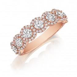 Henri Daussi R25-7 Rose Gold Round Diamond Cluster Band