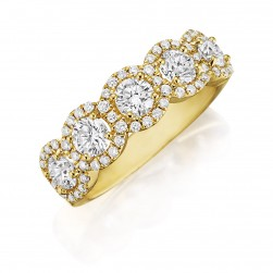 Henri Daussi R25-8 Yellow Gold Round Diamond Cluster Band