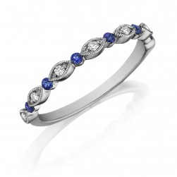 Henri Daussi R26-6 Bead Set Milgrain Diamond and Blue Sapphire Band