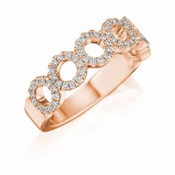 Henri Daussi R33-2 Rose Gold Diamond Halo Band