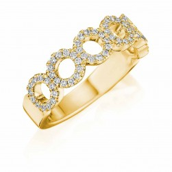 Henri Daussi R33-3 Yellow Gold Diamond Halo Band