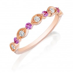 Henri Daussi R37-7 Rose Gold Bead Set Milgrain Diamond and Pink Sapphire Band