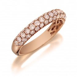 Henri Daussi R3-2 Triple Row Pave Band of Fancy Light Pink Diamonds