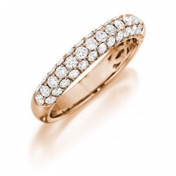 Henri Daussi R3-7 Triple Row Rose Gold Pave Diamond Band