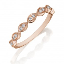 Henri Daussi R42-2 Rose Gold Bead Set Diamond Band with Miligrain Detail