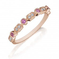 Henri Daussi R43-7 Rose Gold Bead and Bezel Set Diamond and Pink Sapphire Band with Miligrain Detail
