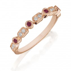 Henri Daussi R43-8 Rose Gold Bead and Bezel Set Diamond and Ruby Band with Miligrain Detail