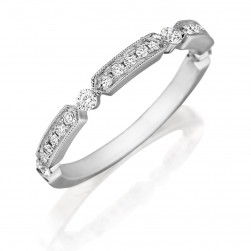 Henri Daussi R44-1 Bead Set Diamond Band with Miligrain Detail