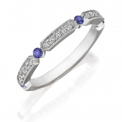 Henri Daussi R44-6 Bead Set Diamond and Sapphire Band with Miligrain Detail