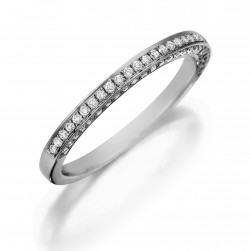 Henri Daussi R5 Band with Three Sides of Pave Diamonds