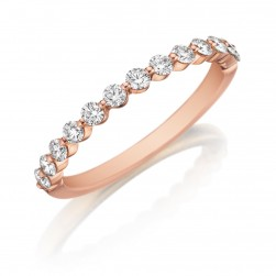 Henri Daussi R6-7 Rose Gold Shared Prong Diamond Band