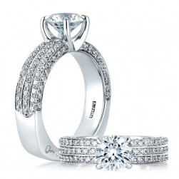 A Jaffe 14 Karat Signature Engagement Ring MES321
