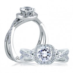 A Jaffe 14 Karat Signature Engagement Ring MES410
