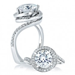A Jaffe 14 Karat Signature Engagement Ring MES433