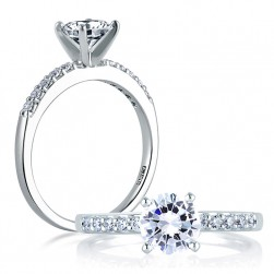 A Jaffe Platinum Classic Engagement Ring ME1401